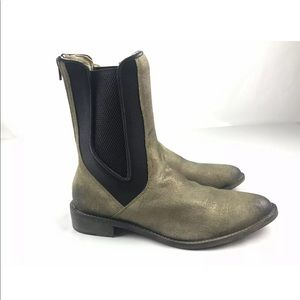Free People Blackburn Gold Chelsea Ankle Boots 10